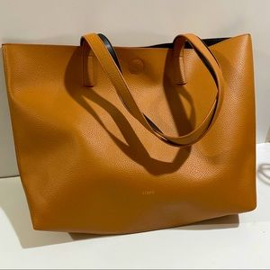 J Crew reversible vegan leather tote bag 13x14.5in